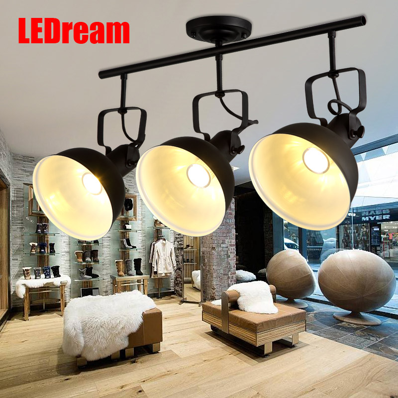 Led industrial American retro track shoot the lamp to be creative joker clothing shops bar counter cob track droplight
