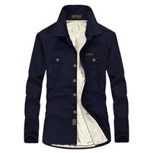 Brand Casual Solid Shirt Men Winter Thick Warm Shirts Wool Fleece Long Sleeves Shirt Men Military