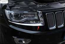 цены Lapetus ABS ! Accessories Front Headlight Lamp Eyelid Eyebrow Molding Cover Kit Trim For Jeep Grand Cherokee 2014 2015 2016