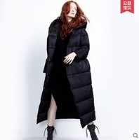 White Duck Down Suit Female Long Knee Hooded Loose Thick Down JACKET WOMAN Feather Jacket Woman Coats