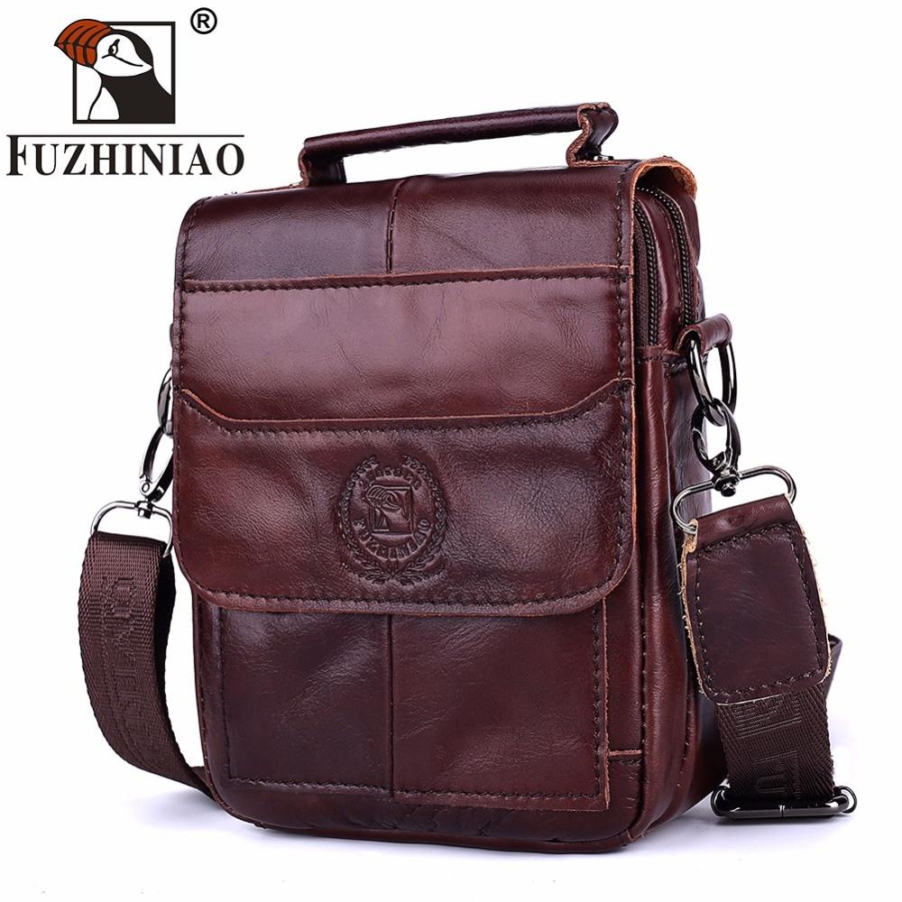 FUZHINIAO Men Travel Bags Genuine Leather Messenger Bag Fashion Crossbody  Cross body Shoulder Bags Small Cowhide