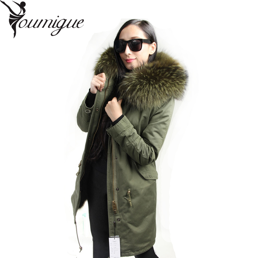 YOUMIGUE Fashion woman army green Large raccoon fur collar coat parkas outwear detachable real fox fur lining winter jacket women large collar army camouflage fox fur liner hooded coat outwear real fox fur lining jacket woman brand dhl free shipping