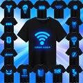 100% Algodón de Verano Camisas de Anime Camiseta Hombres Fluorescente Luminoso de Manga Corta Camiseta de La Personalidad Masculina de la Aptitud Ocasional Tops Camisetas