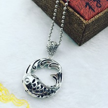 S925 Sterling Silver folk style retro koi carp Silver Pendant Pendant Chain sweater factory direct