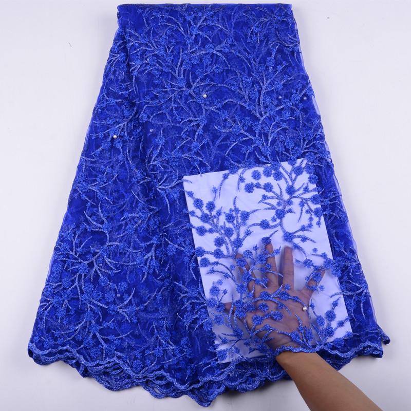 Embroidered Mesh Lace Fabric With Beads African French Lace For Party High Quality Nigeria Lace Fabric