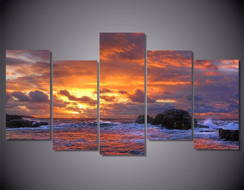 5 pieza Pintura sobre tela en la pared impreso océano azul mar cielo ...
