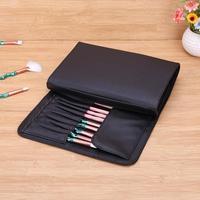 Черные кисти ля макияжа Чехол PU Косметические ручки рулон сумка с отделениями для стандартной длины кисти высокого качества