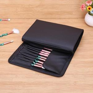Image 1 - 1 adet PU siyah kozmetik kalemler rulo tutucu Fashional makyaj fırçalar kılıf çanta kılıfı için standart uzunluk fırçalar çanta için makyaj