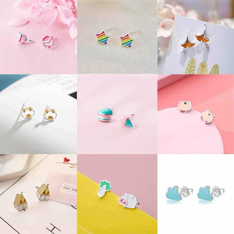 KPOP Cartoon Mini Stud Earrings Cat Pig House candy shaped For Women Girls Fashion Cute Ear Jewelry Birthday Gifts