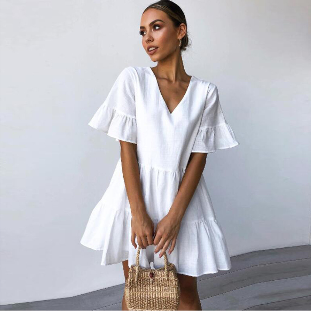 2019 Summer Sexy Summer Women Solid V-Neck Short Sleeveless Mini Party White Dress vestidos vestido robe femme vestidos de festa