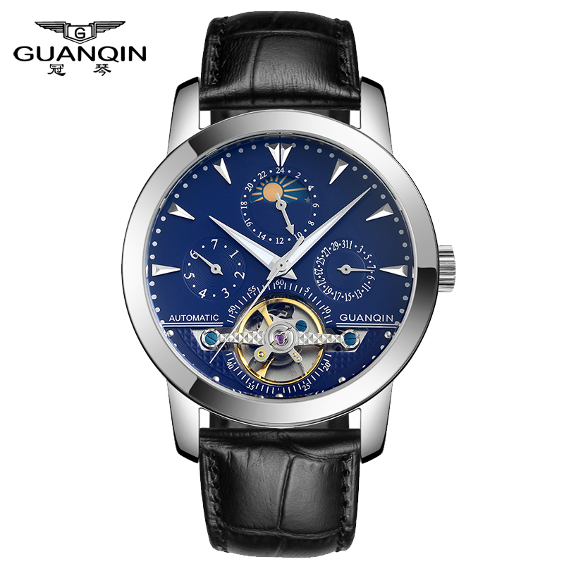ФОТО GUANQIN GQ10028 Luxury Brand Original Tourbillon Watches Men Stainless Steel Band Gold Wristwatches Automatic Mechanical Watches