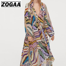 ZOGAA Women Print Mid Calf Dress Sexy V Neck Beach Style Bow Tie Casual Chiffon Female Vintage Summer Dresses