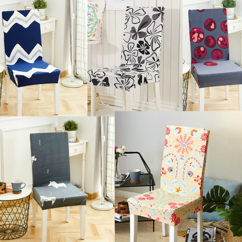 Soft Spandex Fit Stretch Short Dining Room Chair Covers with Printed Chair Seat Protector Slipcover for Home Party Hotel Wedding