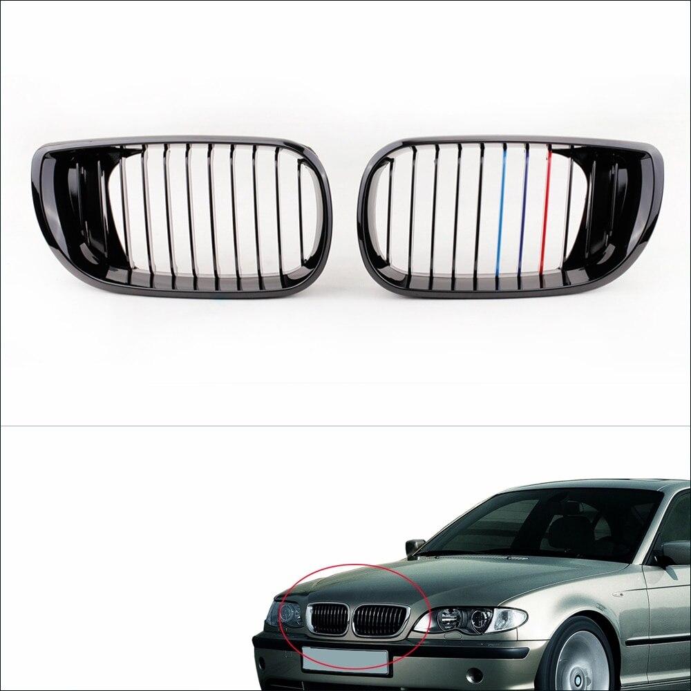 2 pièces Noir m-couleur Avant Calandre Réniforme pour BMW E46 4 Portes Série 3 Facelift Berline 2002-2005