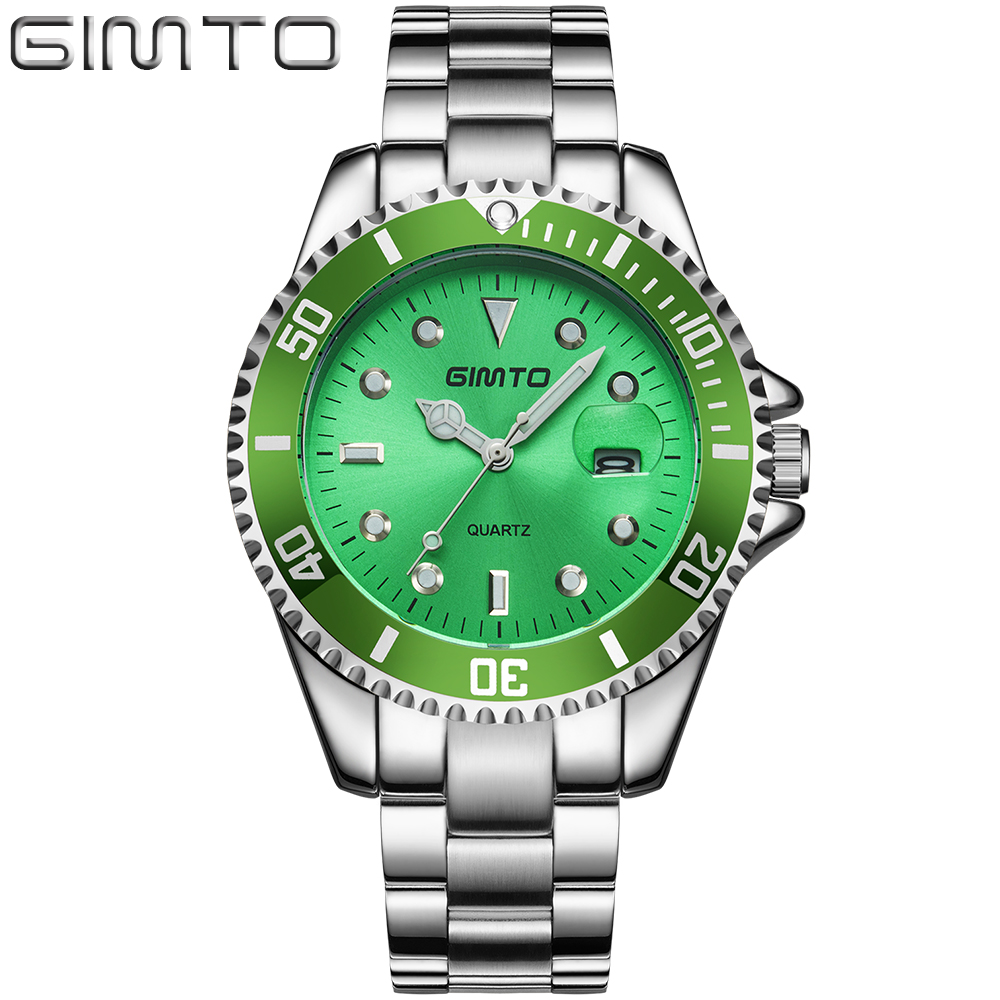 GIMTO Top Brand Men Watch Luxury Steel Quartz Wristwatch Male Creative Clock Calendar Business Watches Relogio Masculino Relojes ot01 watches men luxury top brand new fashion men s big dial designer quartz watch male wristwatch relogio masculino relojes