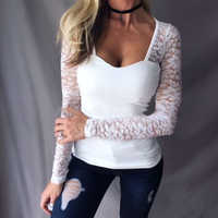 Umeko Plus Size 5XL Lace Stitching Shirt Sexy Long Sleeve Deep V Neck Bodycon Elastic Blouse Solid Color Casual Blusas