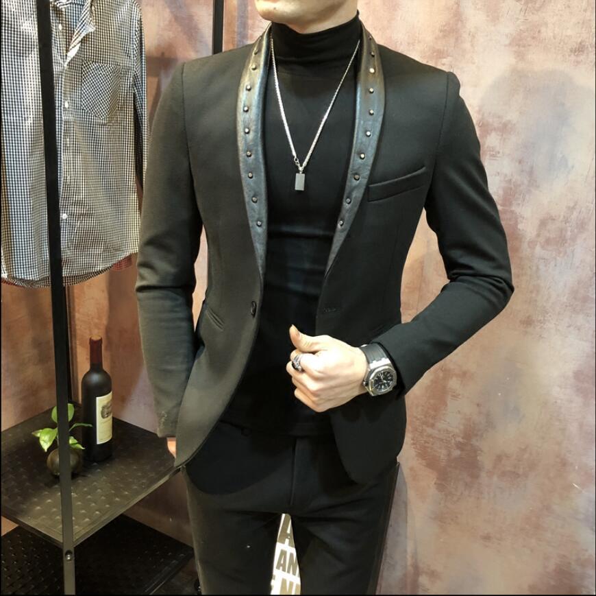 Rebite jaquetas masculina moda ternos vestido anfitrião magro versão coreana do pequeno terno boate barbeiro jaqueta preta primavera e outono - 4