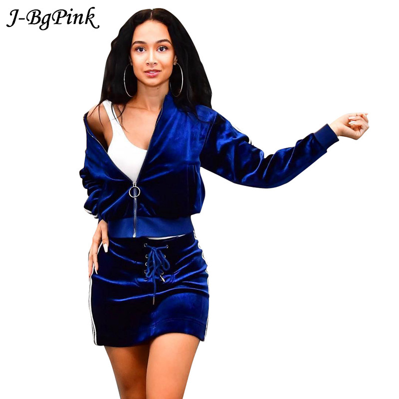 Women Velvet Tracksuits Autumn Long-sleeved Suits Top And Skirt Casual Outfit Black / Blue Velor Hoodies Two Pieces Set