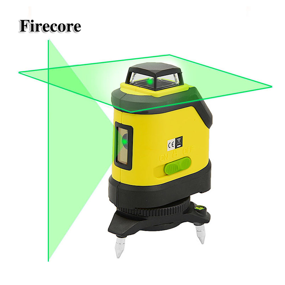 Firecore F190G 5 Lines Green Laser Level 4 Degrees Self- Leveling Horizontal And Vertical Cross Line Lazer Tool