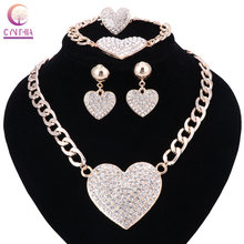 Women Romantic Heart Love Crystal Statement Chokers Necklace Earring Ring Set For Bridal Gold Color Wedding Dress Jewelry Sets(China)