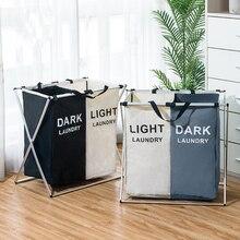 Cesta de armazenamento de roupas sujas três grade organizador cesta dobrável grande cesta de lavanderia à prova dwaterproof água casa cesta de lavanderia