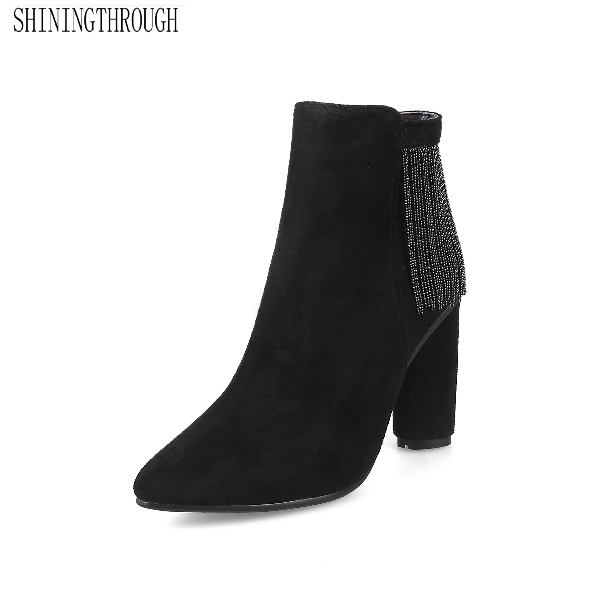 New elegant ankle Boots high heels boots woman metal tassel Womens Boots ladies dress shoes large size 34-43