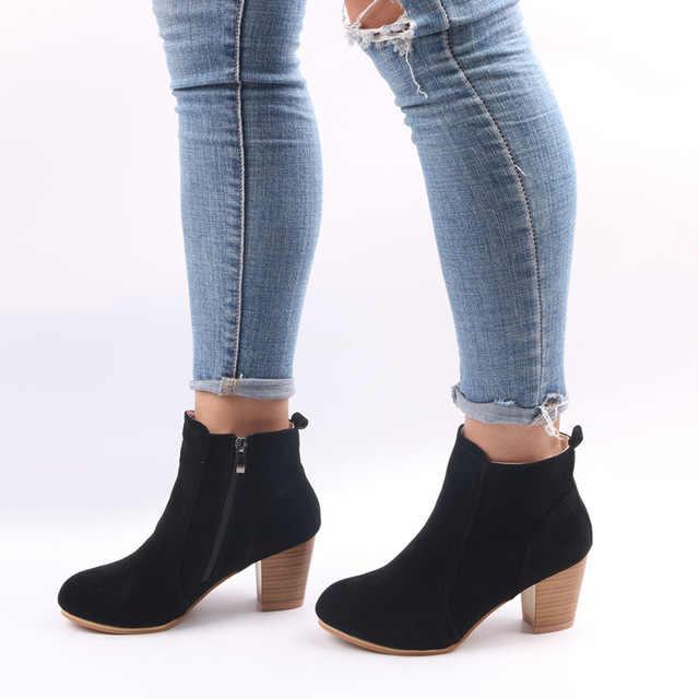 SZSGCN428-2019 Yeni Kadın yarım çizmeler Konfor Düşük Topuklu Ayakkabılar Kadın Kısa Sürme Patik Seksi Yüksek Topuklu Artı Boyutu 35-41