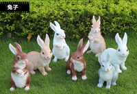 7pcs/lot Rustic animal sculpture resin rabbits craft outdoor decoration garden craft decoration home Ornaments