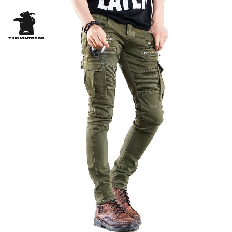 ФОТО  Men's jeans Designer thin Fold stretch Men green black Pull Homme army D33C423