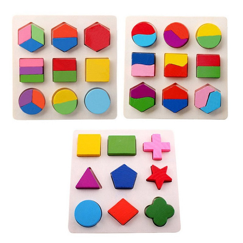 Wood Geometry Puzzle Decomposition Plate Kids Baby Wooden Geometry Puzzle Early Learning Educational Toy