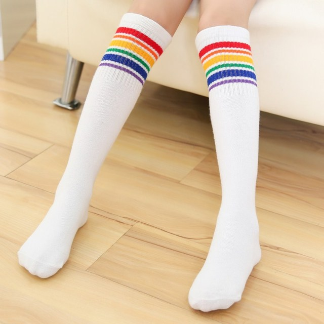 4173aba18 1 Pair Women Girl Student Colorful Striped Stockings Autumn and Winter Black  White Rainbow print Cute Over Knee Socks calcetines
