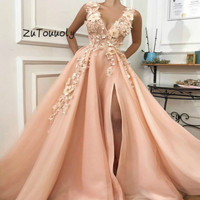 Stunning Peach Evening Dresses Deep V Neck Floor Length 3d Flower Beaded Couture Prom Dress With High Slits Plus Size Party Gown