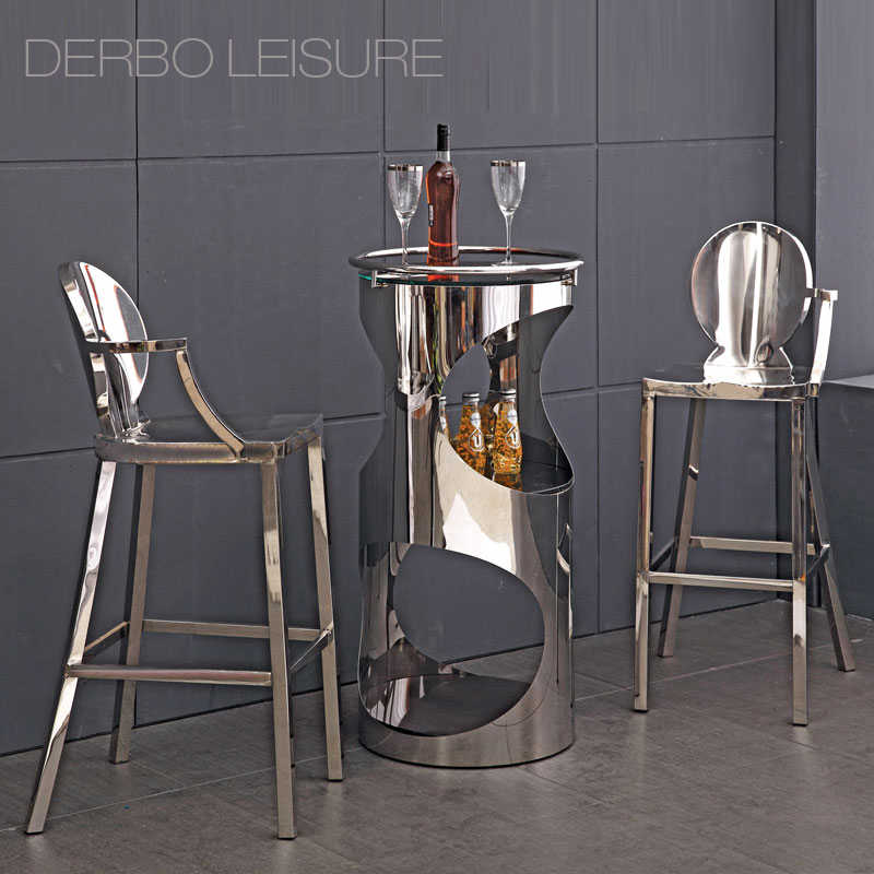 Современный классический дизайн в стиле лофт Роскошная нержавеющая сталь Блестящая Глянцевая кухня комната Высокая одна рукоятка барный стул счетчик табурет 1 шт.