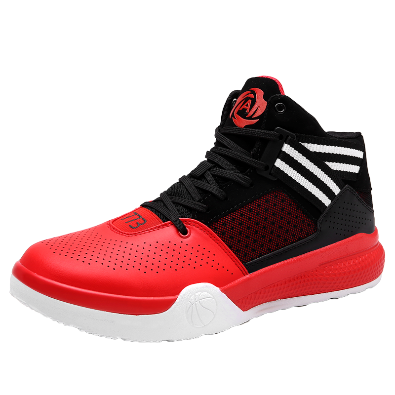 2017 Hot Sale Basketball Shoes for Men Boys High Top Basketball Boots Lace Up Basket Shoes Leather Red Blue Athletic Sneakers ...