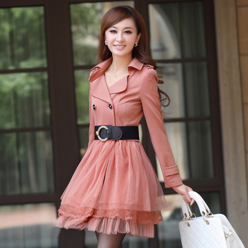 free shipping 2012 newest lace patchwork trench dress coat for ...