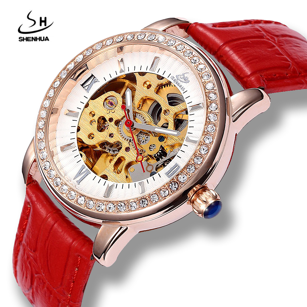 Shenhua Womens Self Winding Luxury Rose Gold Diamond Skeleton Mechanical Wrist Watch ladies Power Automatic PU Leather Watches antique style luxury vintage gold mechanical hand winding pocket watch pendant with fob chain for mens womens reloj de bolsillo