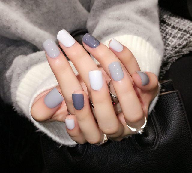 Colorful Grey Fake Nails Pattern - Nail Polish Ideas ...