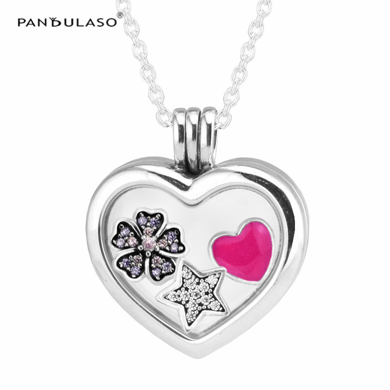 925 Sterling Silver Jewelry Women Necklace Star Heart Large Floating Pendant Necklace Women Silver Jewelry DIY