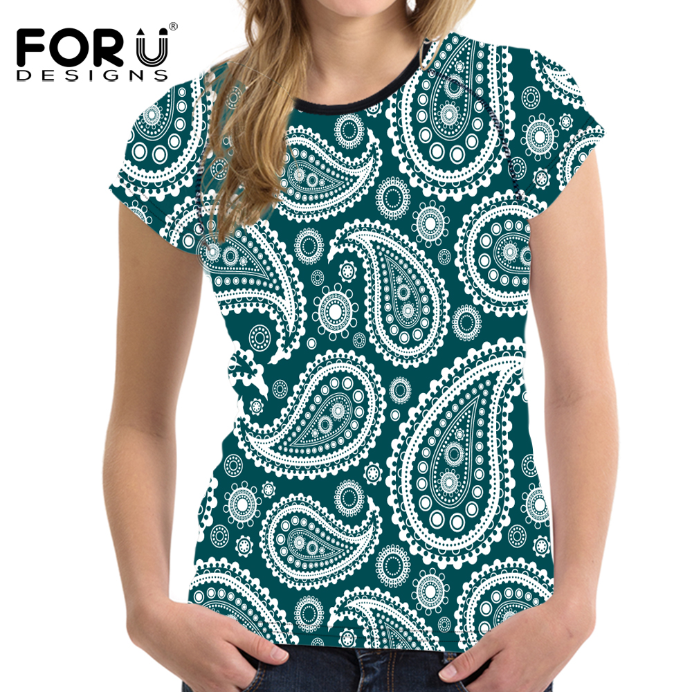 75a4570ac FORUDESIGNS Novelty 3D Paisley Print Summer Short Sleeve T Shirt For Women  Bran T shirt Breathable Elastic Casual Tee Shirt Tops-in T-Shirts from  Women's ...