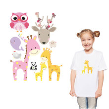 1 piece cute animal iron patch on clothes diy accessory washable heat transfer film new design sika deer owl whale giraffe