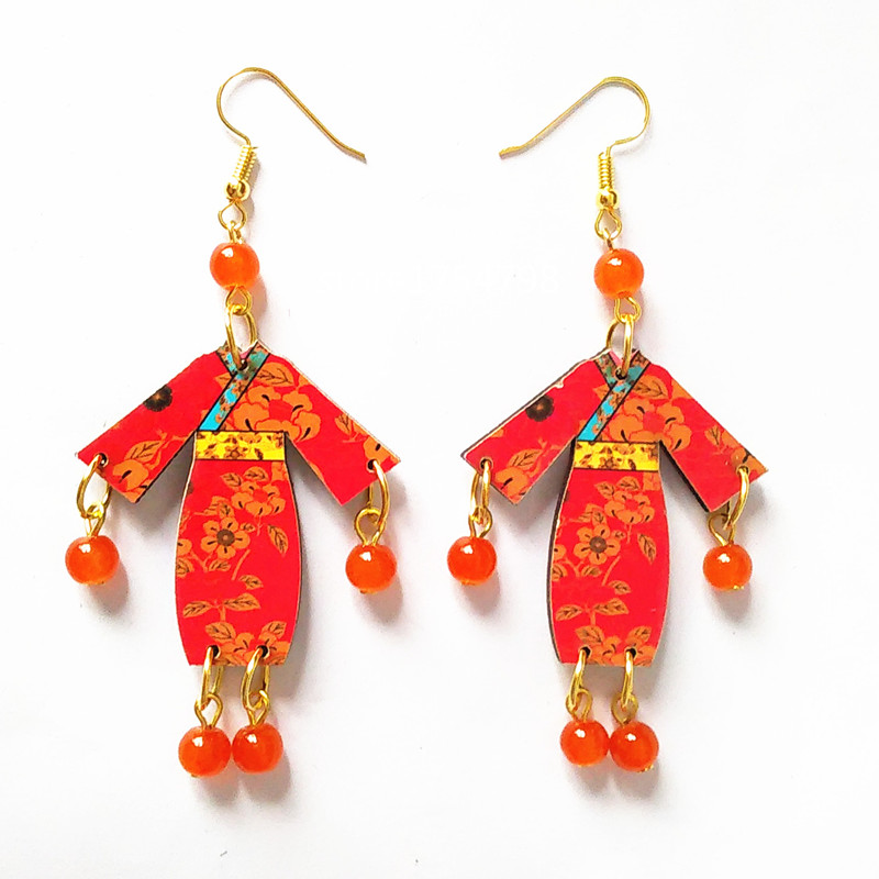New Style Carving wood Earrings Stone Beads Handmade  Earrings  - Fashion Jewelry