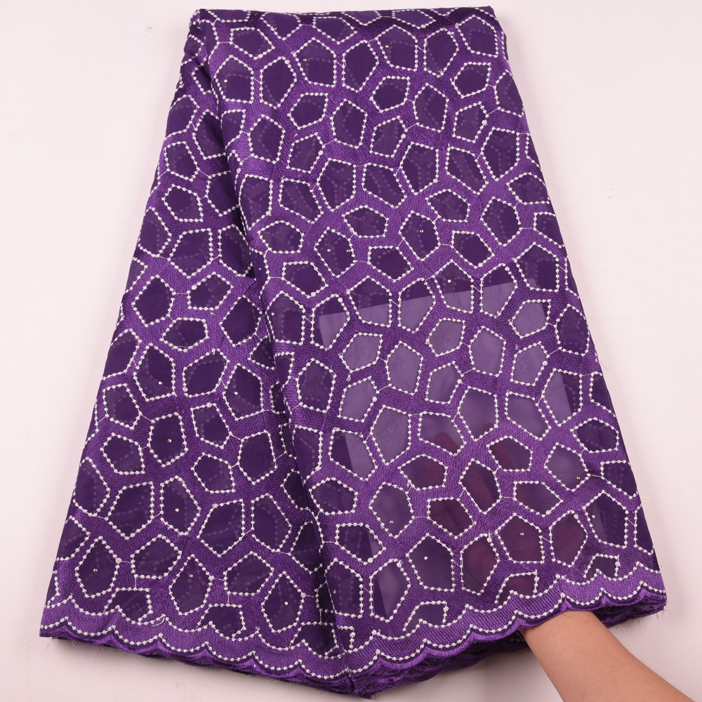 African Purple Swiss Voile Lace 2019 High Quality Swiss Voile Lace In Switzerland Pliosh Cotton Lace