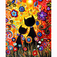 Flower and cat diamond Embroidery diy painting mosaic diamant 3d cross stitch pictures H656