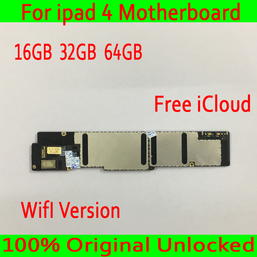 Free iCloud for iPad 4 Motherboard with Full Chips,100% Original unlocked for iPad 4 Circuit board,Wifi Version,16GB 32GB 64GBFree iCloud for iPad 4 Motherboard with Full Chips,100% Original unlocked for iPad 4 Circuit board,Wifi Version,16GB 32GB 64GB
