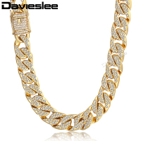Davieslee Gold Necklace For Men Miami Curb Cuban Chain Necklaces Iced Out Men's Woman Jewelry Dropshipping 14mm LGN455