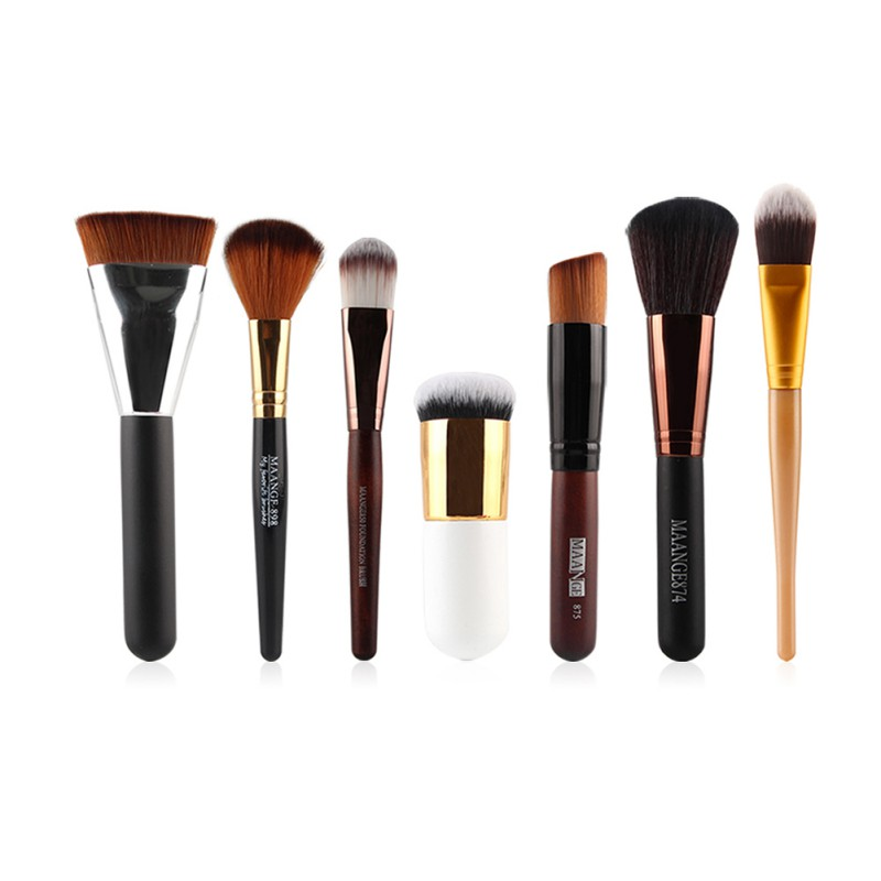 7pcs/set Beauty Pro Make up Foundation Cosmetic Brush Set Soft Blush Facial Powder Makeup Accessories 2017 LY2 professional bullet style cosmetic make up foundation soft brush golden white