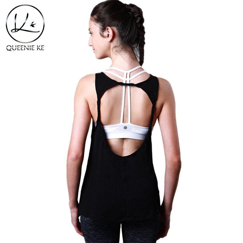 QUEENIEKE Women s Super Soft Knit Cowl Back Yoga Sports Tank Top T Shirt Super Soft