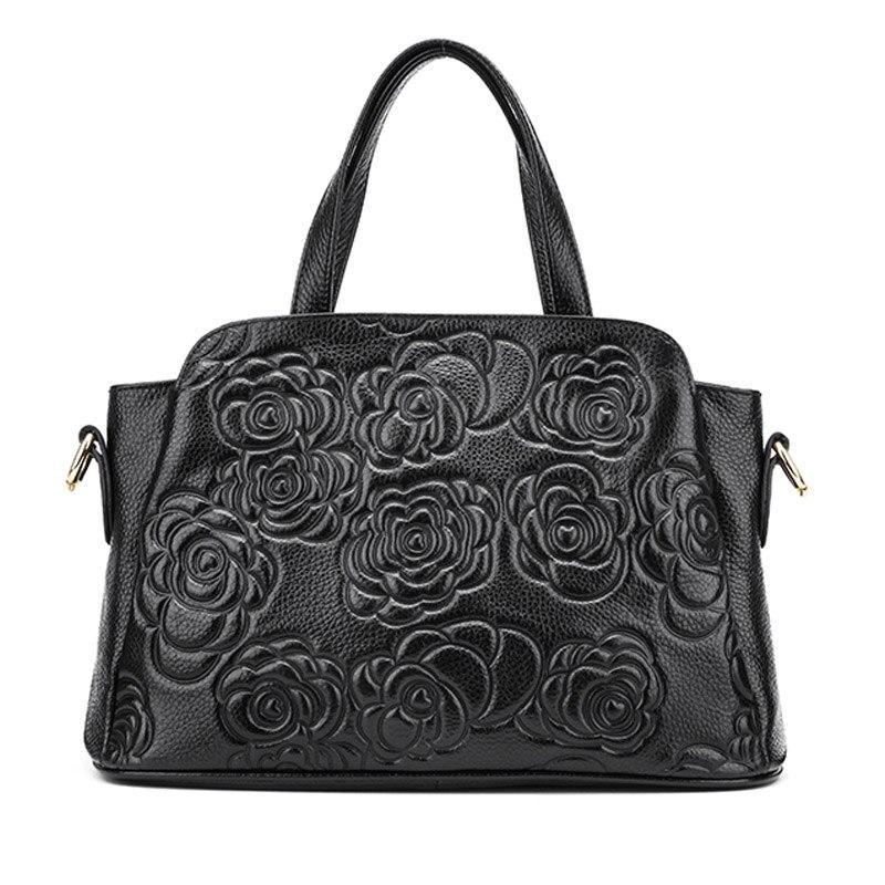 ФОТО 2016 Colorful Trendy European and American Style Women Totes Genuine Leather Rose Flower Embossed Handbags Ladies Shoulder Bags