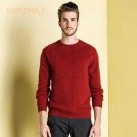 Зимние Для мужчин джемпер 100% чистый кашемировый трикотажный свитер с длинными рукавами и круглым вырезом теплые пуловеры мужской новинка