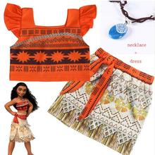 цены на Baby Girl Clothes Princess Dress Moana Cosplay Costume For Children Vaiana Girls Party Wedding Dresses With Necklace Costumes  в интернет-магазинах